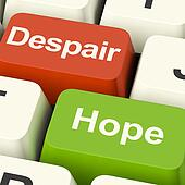 Despair Or Hope Computer Keys Showing Hopeful or Hopeless