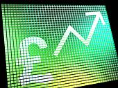 Pound Sign And Up Arrow On Screen Showing Gbp Value Increasing