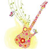 Springtime flower guitar music festival background