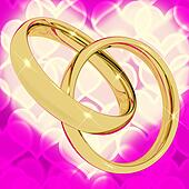 Gold Rings On Pink Heart Bokeh Background Representing Love Vale