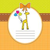 baby girl welcome card with giraffe