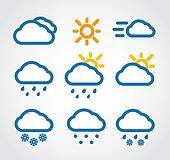 Color Weather conditon icons collection