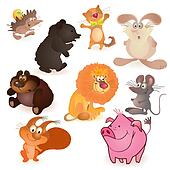 Set of nine  funny animals - mouse,