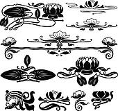 pattern with a water lily