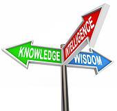 Knowledge Intelligence Wisdom Words on Arrow Signs