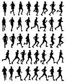 marathon runners silhouettes