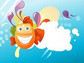 Funny abstract background fish