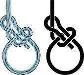 vector bowline loop climbing rope knot symbols