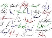 Signature writing signs