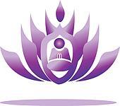 Lotus and yoga men praying