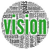 Vision concept in word tag cloud