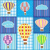 Patchwork with hot air balloons