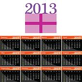 calendar for 2013 with a gift vector illustration