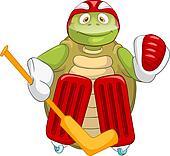 Funny Turtle. Hockey Goalie.