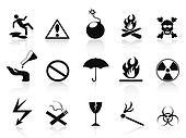 black warning icons set