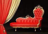 Royal sofa with gold frame. Curtain.