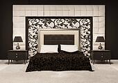 Front perspective of luxutiois double bed at royal apartment. Modern Interior at the hotel. Luxe furniture and pattern.