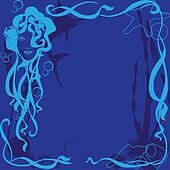 blue background marine life