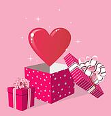 Love gift in box greeting card
