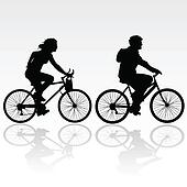 man and woman riding a bicycle