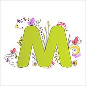 Colorful floral alphabet. Letter M