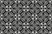 Black-and-white seamless gothic floral vector pattern with fleur