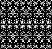 Seamless damask floral black-and-white vector ornament