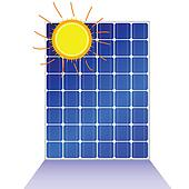 solar panel with sun vector illustration