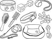 Dog accessories - pet equipment hand-drawn illustration