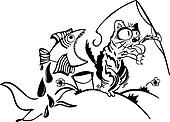 Cat fishing. Cartoon