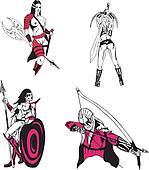 Fantasy Warriors. Vector Set