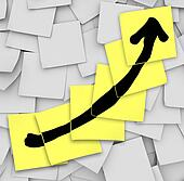 Arrow Up Tracking Growth Success Sticky Notes