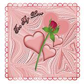 Mauve Hearts and a Rose