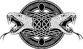 snake and Celtic patterns