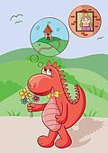 Cute red dragon