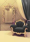 Royal  furniture in a luxurious interior, black upholstery and g