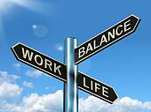 Work Life Balance Signpost Showing Career And Leisure Harmony