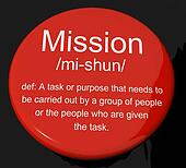 Mission Definition Button Showing Task Goal Or Assignment To Be