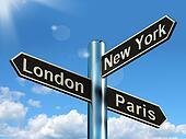London Paris New York Signpost Shows Travel Tourism And Destinations
