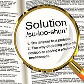 Solution Definition Magnifier Showing Achievement Vision And Suc