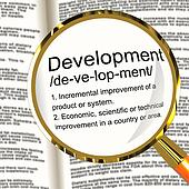Development Definition Magnifier Showing Improvement Growth Or A