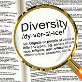 Diversity Definition Magnifier Shows Different Diverse And Mixed Race