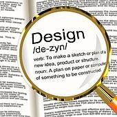 Design Definition Magnifier Showing Sketch Plan Artwork Or Graph
