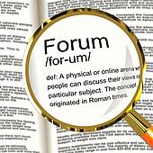 Forum Definition Magnifier Showing A Place Or Online Arena For D