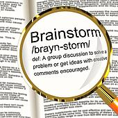 Brainstorm Definition Magnifier Showing Research Thoughts And Di