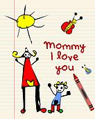 Happy Mothers Day child drawing