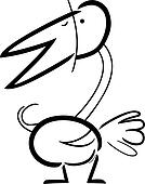 cartoon doodle of bird for coloring