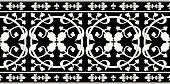 Seamless black-and-white gothic floral vector pattern with fleur