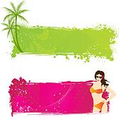 Two banners  with summer designs