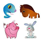 Set of four little funny animals -